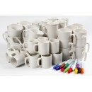 Porslinsmuggar för Dekoration Vit +12 Pennor 48st/fpk