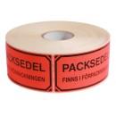 """Signaletiketter """"Packsedel finns i förpackningen"""" 1000st/rulle"""