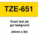 Märkband Brother TZe651 24mm Svart/Gul