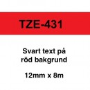 Märkband Brother TZe431 12mm Svart/Röd