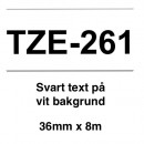 Märkband Brother TZe261 36mm Svart/Vit