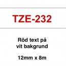 Märkband Brother TZe232 12mm Röd/Vit