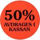 Etikett 50% Avdrages i Kassan 2000st/rulle