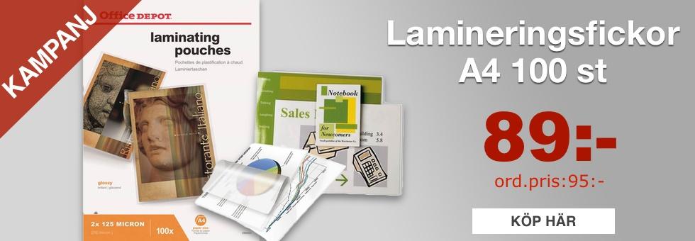 Lamineringsfickor Office Depot A4 125mic Klar